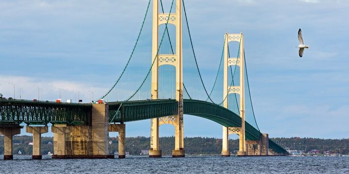 7 Most Terrifying Bridges in the World Mackinac Bridge Michigan USA